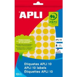 APLI Etikett, 10 mm kör, kézzel írható, színes, , sárga, 1008 etikett/csomag
