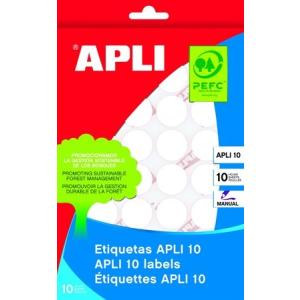 APLI Etikett, 10 mm kör, kézzel írható, , 1260 etikett/csomag