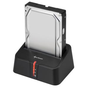 """Sharkoon HDD Dokkoló - QuickPort XT USB3.0 V2 (fekete; 2,5""""-3,5"""" SataHDD; USB3.0 csatlakozó; One click backup)"""