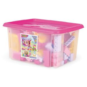 Wader Wader: Közepes építőkockák - 132 db-os - rózsaszín dobozban