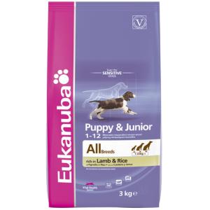 Eukanuba Puppy & Junior rich in Lamb & Rice 1kg