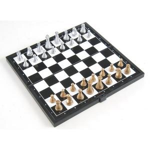Gémklub Összehajtható mágneses sakk, arany-ezüst, műanyag, 20x20x1cm