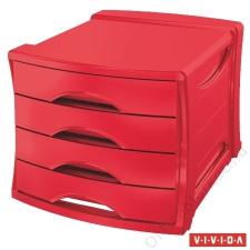ESSELTE Irattároló, műanyag, 4 fiókos, ESSELTE Europost, Vivida piros (E623960) irattároló szekrény