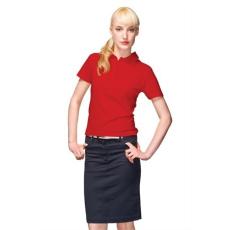 Póló, női, galléros, XL, piros