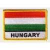 Felvasalható hímzett piros-fehér-zöld matrica Hungary felírattal (8,5 X 5,5 cm)