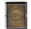 Cigarettatartó koszorús címeres sárgaréz betéttel, 20 szálas ajándéktárgy