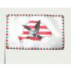 Farkasfogas árpádsávos Nagy- Magyarországos turulos zászló 15x25cm, 40cm-es műanyag rúddal