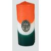 Nemzeti színű henger gyertya 15cm, ón koszorús címerrel (3,2x4 cm)