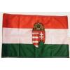 Nemzeti színű címeres zászló 15x25 cm, 40 cm-es műanyag fehér pálcával