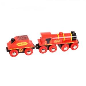 Piros mozdony és szenes vagon