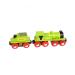 Zöld mozdony és szenes vagon
