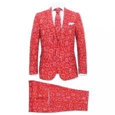 52-es méretű piros kétrészes karácsonyi öltöny nyakkendővel