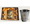 Sárgaréz koszorús címeres betétes fém flaska szett, 4db koszorús címeres pohárral dekoráció