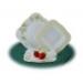 . Csemegetányér, porcelán, négyszögletes, 22 cm, ROTBERG, zöld virágos