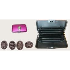 Bankkártya tartó metál pink színű ón címer matricával