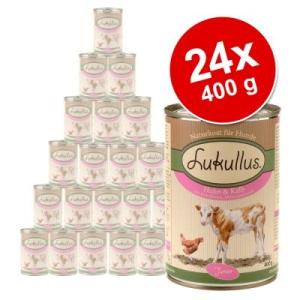 Lukullus Junior óriáscsomag 24 x 400 g - Pulykaszívvel és bárányhússal
