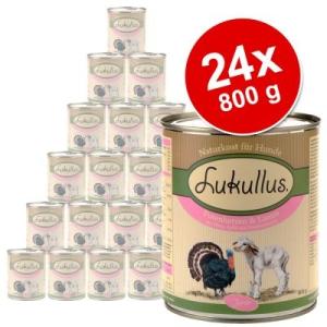 Lukullus Junior óriáscsomag 24 x 800 g - Pulykaszívvel és bárányhússal