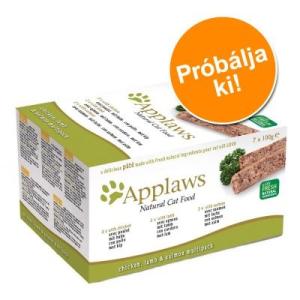 Applaws Cat pástétom, 7 x 100 g próbacsomag - II. csomag: 3 x marhahúsos, 2 x pulykahúsos, 2 x tengerihalas