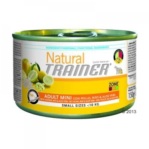Trainer Natural Adult Mini 6 x 150 g - Csirkehús, rizs & Aloe vera