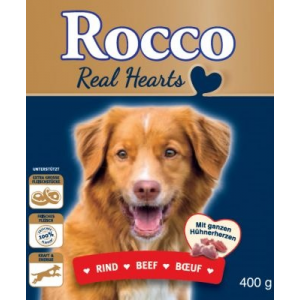Rocco Akciós csomag: Rocco Real Hearts 24 x 400 g - 12 x marha + 12 x csirke