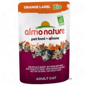 Almo Nature Orange Label Bio tasakos 6 x 70 g - Marhahúsos & zöldséges