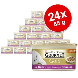 Purina Gold gyengéd falatok, 24 x 85 g - Borjúhúsos és zöldséges