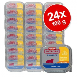 Animonda Integra Protect Sensitive óriáscsomag 24 x 100 g - Pulykahúsos rizzsel