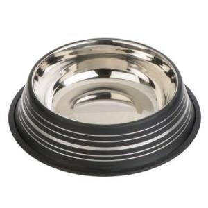 Zooplus Industries Silver Line rozsdamentes acél macska etetőtál - matt fekete - 300 ml, Ø 15 cm
