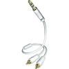 Inakustik jack / RCA csatlakozó kábel 3,5 mm-es jack / 2x RCA dugó fehér 0,75 m