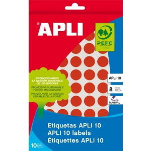 APLI Etikett, 10 mm kör, kézzel írható, színes, APLI, piros, 1008 etikett/csomag