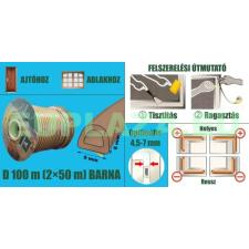 Ablakszigetelő, ajtószigetelő, öntapadó tömítőprofil, D, barna, 9 x 8 mm x 100 m barkácsolás, csiszolás, rögzítés