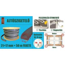 Ajtószigetelő, öntapadó gumiprofil, ipari, D-strip, fekete, 21 x 17 mm x 50 m barkácsolás, csiszolás, rögzítés