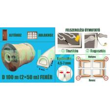 Ablakszigetelő, ajtószigetelő, öntapadó tömítőprofil, D, fehér, 9 x 8 mm x 100 m barkácsolás, csiszolás, rögzítés