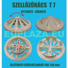 Szellőzőrács, T7, kúpos felsőrész, zárható, műanyag, állítható csőcsatlakozó 100-150 mm barkácsolás, csiszolás, rögzítés