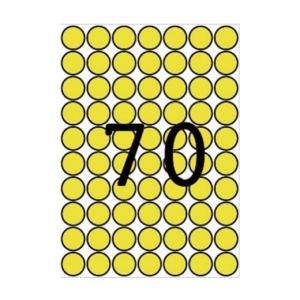 APLI Etikett, 19 mm kör, színes, A5 hordozón, APLI, sá