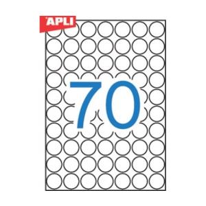 APLI Etikett, 19 mm kör, A5 hordozón, APLI, 1050 etike