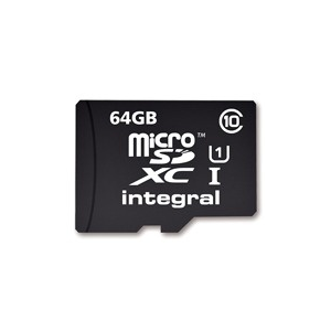 Integral Memory card Integral micro SDXC 64GB CL10 + SDHC adapter (transfer up to 40MB/s)