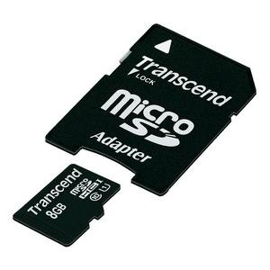 Transcend Micro SDHC 8GB Class 10 UHS-I +adapter SD memóriakártya