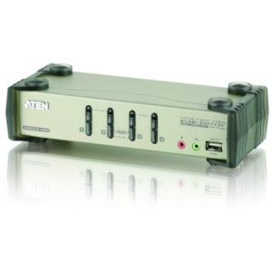 ATEN CS1734B 4-Port USB 2.0 KVMP Switch OSD 4x USB Cables 2-port Hub Audio