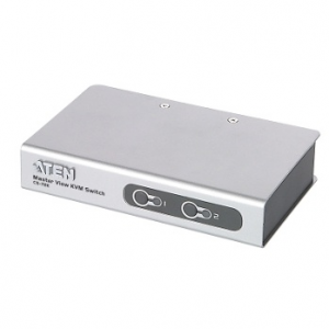 ATEN CS72E 2-Port PS/2 KVM Switch  2x Cables (1.2m  50cm console) Non-powered