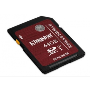 Kingston memory card 64GB SDXC  UHS-I Speed Class 3 (transfer up to 90MB/s)