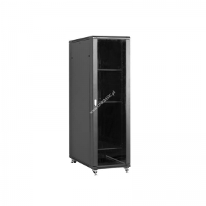 Linkbasic rack cabinet 19 37U 600x1000mm black (smoky-gray glass front door)