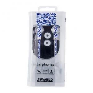 4world MP3 Earphones Pattern Flat | jack 3.5mm | 1.2m | Blue Flowers