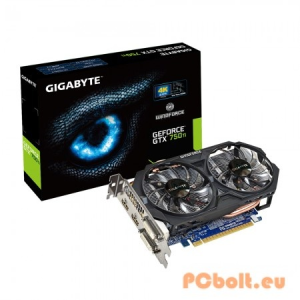 Gigabyte GTX750Ti 2GB DDR5 GV-N75TOC-2GI nVidia,PCIE,GPU:1033/1111MHz,RAM:5400MHz,2GB,DDR5,128bit,Aktív hűtés,2xDVI,1xHDMI,DisplayPort