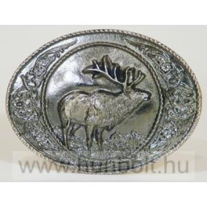 Ezüst színű szarvasos övcsat (7,5X6,5 cm)