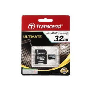Transcend Micro SDHC 32GB Class 10 memóriakártya + Adapter (20MB/s / Full HD)