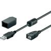 USB 2.0 hosszabbítókábel, fekete, csíptetővel, 2 m