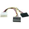 Áram  csatlakozókábel [2x SATA áram alj 15 pólusú - 1x IDE áram dugó 4 pólusú] 0.15 m fekete, piros, sárga
