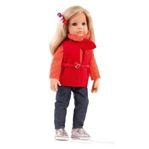 Hannah Götz baba, szőke haj, kék szem, 50 cm magas, fodrászkészlettel