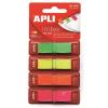 APLI Jelölőcímke, műanyag, 4x40 lap, 12x45 mm, APLI, 4 fluoreszkáló szín (LCA12482)